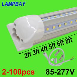 lampadine a buon mercato a buon mercato all'ingrosso Sconti 2-100pcs a forma di led luci del tubo 2ft 3ft 4ft 5ft 6ft 8ft 270 angolo lampadina T8 integrato dispositivo lampada barra collegabile super luminoso