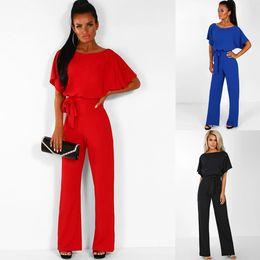 e6e1b122754f Elegant Womens Jumpsuit 2019 Summer Short Sleeve Solid Playsuits Long Pants  Rompers Overalls Bowknot Belt Bodysuit Work Wear