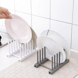 Armazenamento em rack de cozinha on-line-Fontes de Cozinha de alta Qualidade Rack De Armazenamento Rack de Ralo Titulares de Cozinha Prateleira de Prato De Plástico Branco Titular Organizadores De Armazenamento