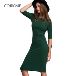 Nuove donne di stile di estate del lavoro Vestiti di Bodycon Vestito da Midi del mezzo del manicotto del girocollo verde casuale sexy da