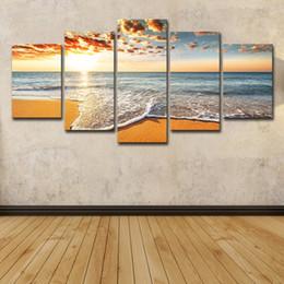 2019 pittura ad olio sulla spiaggia del mare 5 Pz Colorful Sunshine Beach Sea Waves Seascape Pittura A Olio Poster Wall Art HD Stampa Su Tela Pittura Moda Immagini Appese sconti pittura ad olio sulla spiaggia del mare