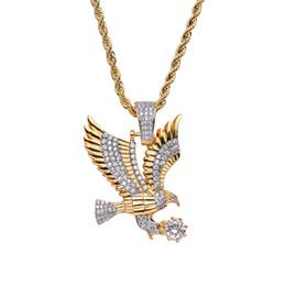Canada Cuivre avec Zircon Eagle Collier Pendentif Bijoux 24 pouces Corde Chaîne Réel Glacé Sur Hommes Bling bling CN053 cheap eagle pendants jewelry Offre
