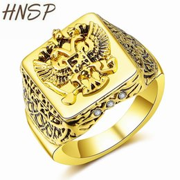 eagles band Promo Codes - HNSP Fashion Russian Empire Double Eagle Gold Color Finger Ring For Men Male Jewelry 8-12 big size 2018 new