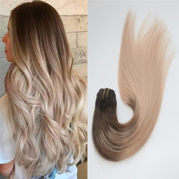 human hair extensions blonde highlights Coupons - Clip in Remy Human Hair Ombre Brown to Ash Blonde Highlights #4 18 Seamless Clip On Hair Extensions 7pcs 120gram for Full Head