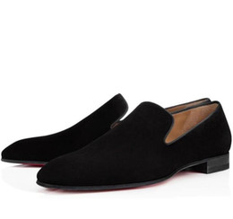 spikes buttons Promo Codes - Brand Red Bottom Loafers Party Wedding Shoes Designer BLACK PATENT LEATHER Suede Dress Shoes Mens Slip On Flats Oxford Walkin spiked shoe C5