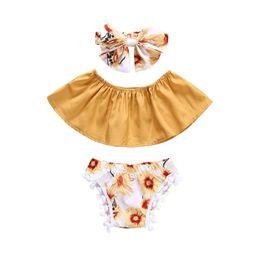 Tube de filles d'été en Ligne-Bébé filles d'été tenues florales 3pc ensembles arc bandeau + top tube Boob + pompons shorts mignon vêtements d'été fleur toddlders