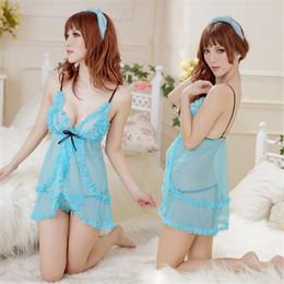 Suspensórios femininos grátis on-line-Pijamas de lingerie sexy Pijamas femininos Pijamas sexy Sexy Ver através da tentação Suspender Vestido Roupa interior G String Cosplay Frete grátis