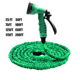 water garden pipe spray Promo Codes - Magic Hoses 25FT-200FT Garden Hose Expandable tube Flexible Water Hose EU Hose Plastic Hoses Pipe With Spray Gun To Watering