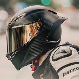 Casques carbone en Ligne-Plein visage en fibre de carbone casque de moto casque de course professionnelle Kask DOT arc-en-visière Motocross Off Road Touring