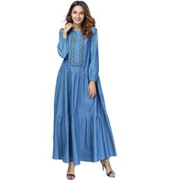 1ae0e5717df Women Denim dresses Long sleeve Geometric Embroidery Blue Jean Casal Party  Loose Fashion Plus size Maxi dress Elegant ladies robe