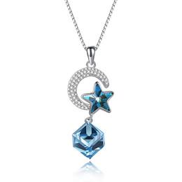 a6d9c74c24fe Luna Collares Elegante Cristal De Swarovski Elemento Estrella Azul S925  Collar Colgante de Plata de Ley Circón Aniversario Invisible POTALA256  collar de ...