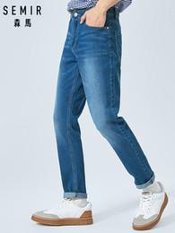 71f07e5d0ee SEMIR 2019 летние новые джинсы мужские тонкие стрейч ретро тенденция  шлифовка белые упругие ноги старые брюки дешево шлифовальные джинсы