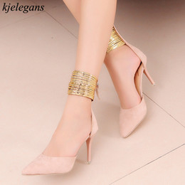 e23321adacb20 Kjelegans 2019 Bride Wedding Sandals Thin High Heels Girls Sandals Ankle  Strap Beads Pointed Toe Women Gladiator Shoes Sweet