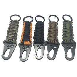 Cable de llavero online-Llavero de cuerda Paracord al aire libre EDC Kit de supervivencia Cordón Cordón Llavero de emergencia militar para senderismo Camping 5 colores LJJM2035