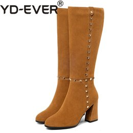 11af32a06327 Discount boots punks heels - YD-EVER Retro Quality Women Knee High Boots  High Heels