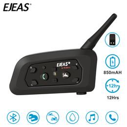 2 Paires EJEAS V6 Pro Intercom Casque Oreillette Bluetooth 850mAh Intercomunicador Microphone Téléphone MP3 GPS 1200m Pour 6 Pilotes ? partir de fabricateur