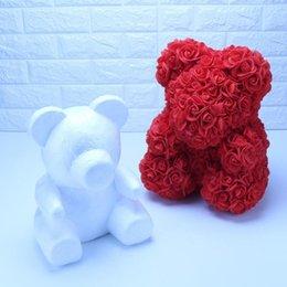 stampi di fiori di rosa Sconti 1Pc schiuma bianca della muffa dell'orso del fiore artificiale della Rosa della muffa dell'orso Rose Wedding Decoration Day regali festa di San Valentino