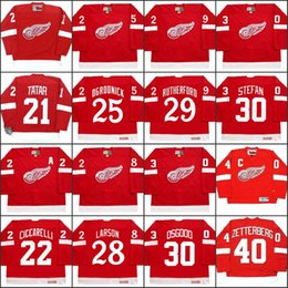 2019 roseau rouge 21 TOMAS TATAR 22 DINO CICCARELLI 25 JOHN OGRODNICK 28 REED LARSON 29 JIM RUTHERFORD Detroit Red Wings 2002 Maillot de hockey CCM Extérieur promotion roseau rouge