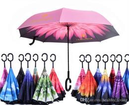 Зонтик для автомобилей онлайн-85 цветов складной обратный зонт двойной слой с ручкой зонтики унисекс перевернутый длинная ручка ветрозащитный дождь автомобильные зонтики подарки DHL Free