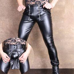 Plus pu hose online-Sexy Men Plus Size U Convex Pouch geöffnete Gabelungs-Bleistift-Hosen PU Kunstleder Punk Hosen feste Hose Erotische Dessous Homosexuell Wear