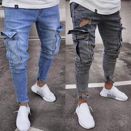 Hip-hop-look online-E-Baihui Männer Used-Look-dünne Jeans-Designer Männer nehmen Rock Revival Jeans Gerade Hip Hop Herren Jeans TF806