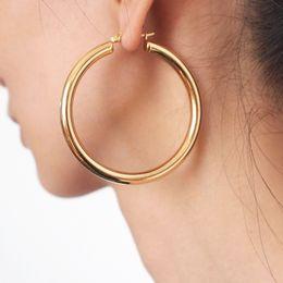 2020 orecchino tubolare Punk 55 millimetri diametro largo del cerchio orecchini per le donne tubo di acciaio inox Dichiarazione orecchini all-ingrosso 2018 UKMOC orecchino tubolare economici
