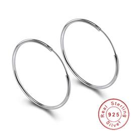 2019 grandes pendientes de plata de ley Minimalistas 925 anillos de plata de ley pendientes del oído grande del aro grande femenina redondo del círculo de la hebilla de los pendientes de aro para damas SE134 rebajas grandes pendientes de plata de ley