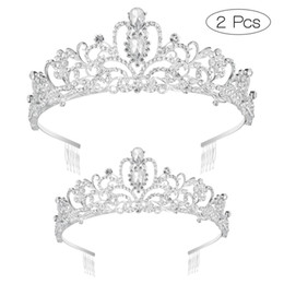 girls tiaras for wedding Promo Codes - 2pcs Crown Exquisite Rhinestone Tiara Birthday Crystal Women Girls Headdress with Comb Pin for Wedding Flower Girl Bridesmaid