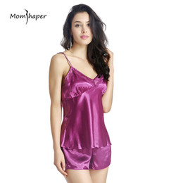 0b4f86e459 sexy lingerie Women Sleepwear Summer lace Silk Pajamas home clothes Pure  color Sling Short V- collar Dresses two piece nighties