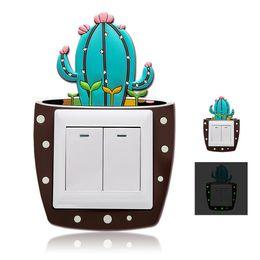 Interrupteur fluorescent en Ligne-Mignon Dessin Animé 3D Cactus Mur Fluorescent Silicone On-off Interrupteur Autocollants Enfants Lumineux Interrupteur Prise De Vue À La Maison Décorations