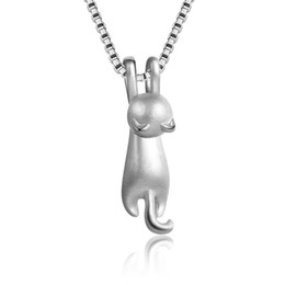 sterling silver choker collar Promo Codes - Newest 925 Sterling Silver Cat Pendants Necklaces Two Types Fashion Cute Animal Choker Necklaces Jewelry For Women Girls Collars