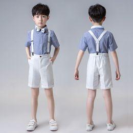 e4b0c0ea8 Children's Day Performance Costume Set Boy New School Chorus Performance  Clothing Sets Kids Shirts Shorts Strap Bowtie Outfits