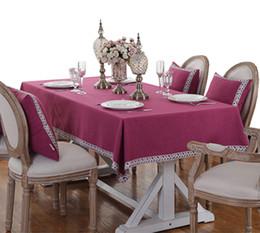 Argentina YO HOOM Cocina Mantel de algodón Mantel Mesa de centro Mesa de tela Cubierta de tabla Simple Color rojo opcional Suministro