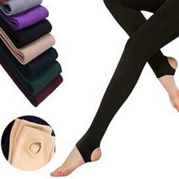 Толстые бархатные леггинсы онлайн-Women winter warm leggings skinny stretch fleece pants Women Casual Faux Velvet ankle-length Legging Knitted Thick Slim Leggings