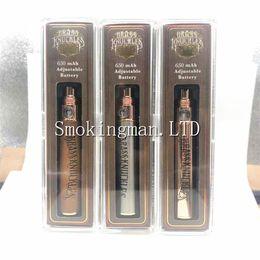 Meilleures cartouches e en Ligne-Meilleure qualité Vape Brass Knuckles Batterie 650mAh Or Bois Tension Variable Réglable E-Cigarette Batterie Stylo Pour 510 Fil G5 Cartouche