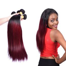 наращивание волос 22 дюйма красный Скидка 8-28 дюймов Бразильское Девы Remy человеческих волос бордовый Gradient Real Длинные прямые волосы Плетение Связки Extensions 1B естественный цвет волос