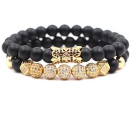 Pietra turchese nera online-2pc / set 8mm braccialetto zircone cubico gioielli di lusso designer pietra smerigliata nera turchese donna bracciali uomo buddha perline braccialetto regalo