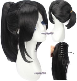 Perruques queue de cheval anime en Ligne-Livraison gratuiteJiziru Yukimura Perruque Chiduru Noir Cheveux Cosplay Perruque Anime Film Perruque + Queue De Cheval