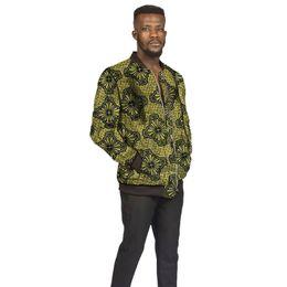 Vestiti di colore brillante online-Giacca da uomo africana in pelle color verde brillante con stampa colletto alla coreana giacche da baseball dashiki per bambini Africa abbigliamento personalizzato