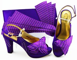 wedges bag set Promo Codes - Nice looking D.purple women pumps match handbag set with rhinestone african shoes and bag for dress MM1084,heel 10CM