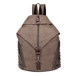 3dd14eef0b23 canvas leather laptop bag UK - Fashion Rivets Canvas Bag Match Good Leather Canvas  Backpack 15 quot