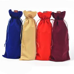 Canada 50PC 15 * 38CM flanelle rouge sac de vin sac aveugle DrawString cadeau de mariage bouteille de vin sac d'emballage 4 couleurs Offre