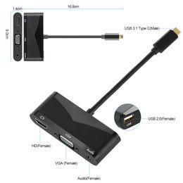 mini itx pci Desconto USB 3.1 Tipo C Macho para HD / VGA Aduio USB2.0 Cabo Conversor Adaptador VGA para MabBook Telefones PC Computador Notebook Tablet HDTV Monitores LCD