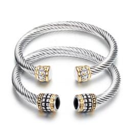 Pulseras de piedras preciosas online-Brazaletes de joyería de moda mujer elegante vintage negro blanco semiprecioso pulseras de piedra al por mayor de acero inoxidable brazaletes abiertos LR044