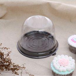 2019 recipientes de cupcake de plástico descartáveis 100 pcs Plástico Transparente Cupcake Dome Favor Caixas Recipiente Descartável Festa de Casamento Decoração Mini Bolo Caixas de Embalagem recipientes de cupcake de plástico descartáveis barato