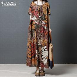 c4dfe7472fe5 Plus Size Kaftan Vestito di lino da donna Sundress 2019 ZANZEA Vintage  Print Maxi Vestito da donna manica corta Estate Vestidos Robe 5XL