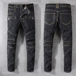 683cf926673 Nuevo estilo de Francia # 1073 # Pantalones Moto para hombre Ripped Blue  Skinny Raw Denim Biker Jeans negros elásticos pantalones delgados tamaño  29-42 en ...