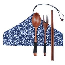 Tenedor japonés online-Juego de cubiertos de madera japonés Ambiental Naturaleza Tenedor de madera Cuchara Palillos Palillos de madera portátiles Cuchillo Cuchara Traje de viaje