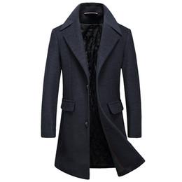 Solapas de abrigo de tela online-El negocio de los hombres de Woxingwosu del nuevo fondo de los inviernos de otoño de 2019 es cultivar morales de lana de lana de los hombres de solapa abrigo de solapas