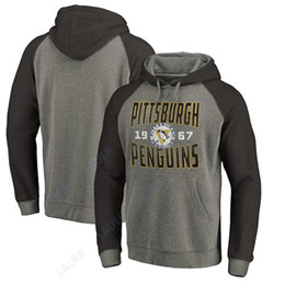 Men Women Youth Pittsburgh Penguins Branded Ash Timeless Collection Antique  Stack Tri-Blend Raglan Pullover Hoodie da55fadcf
